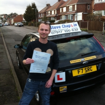 Adrian Hayes from Eastwood, Nottinghamshire PASSED on 24/01/2015 at Watnall Driving Test Centre