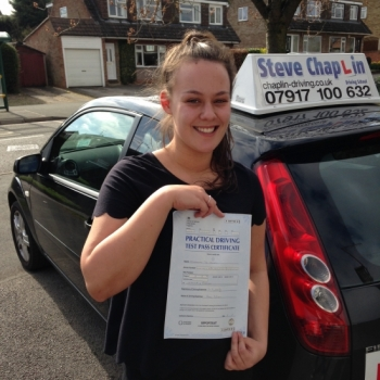 Charlotte Howard from Derby PASSED on 14/04/2015 at Beeston Driving Test Centre